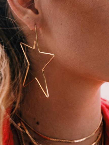 PMS Earrings Gold / one size Fashion Hollow Out Star Earring