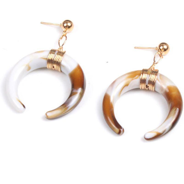 PMS Earrings Same As Photo / one size Fashion Horn Shaped Round Wire Earring