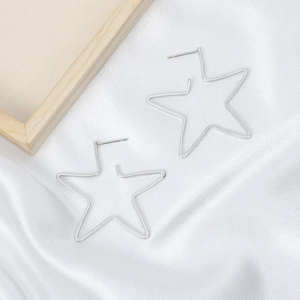 PMS Earrings Silver / one size Fashion Hollow Out Star Earring