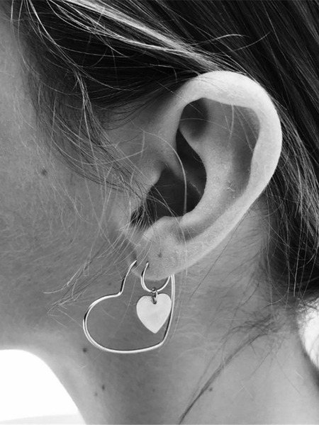 PMS Earrings Silver / one size Fashion Personality Heart Shaped Earrings