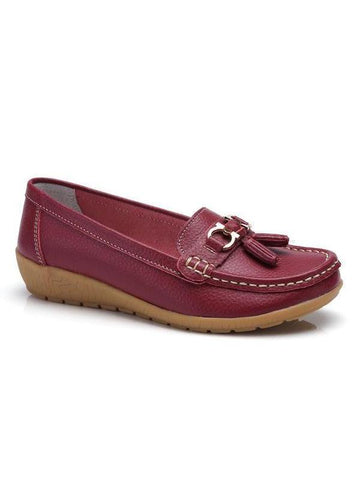 PMS Flat Shoes Claret / 35 New Leather Soft Bottom Wedge With Middle-Aged Peas Shoes Women's Shoes
