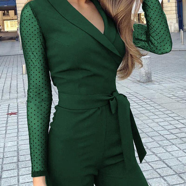 PMS Jumpsuits Black / s Fashion Turndown Collar Long Sleeve Jumpsuits