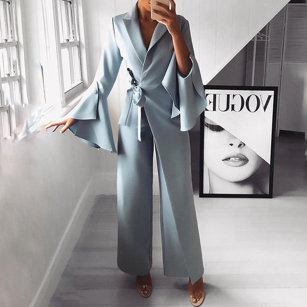 PMS Jumpsuits Blue / s Fashion Pure Colour Bell Sleeve Jumpsuits