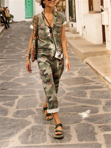 PMS Jumpsuits Casual Fashion Flip Collar Camouflage Printed Sleeveless Jumpsuits