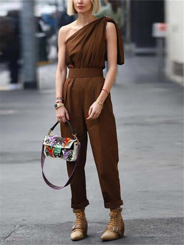 PMS Jumpsuits Fashion Asymmetric One-Shoulder Slim Solid Color Jumpsuits