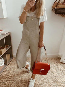 PMS Jumpsuits Fashion Solid Color Pocket Slim Long Jumpsuits