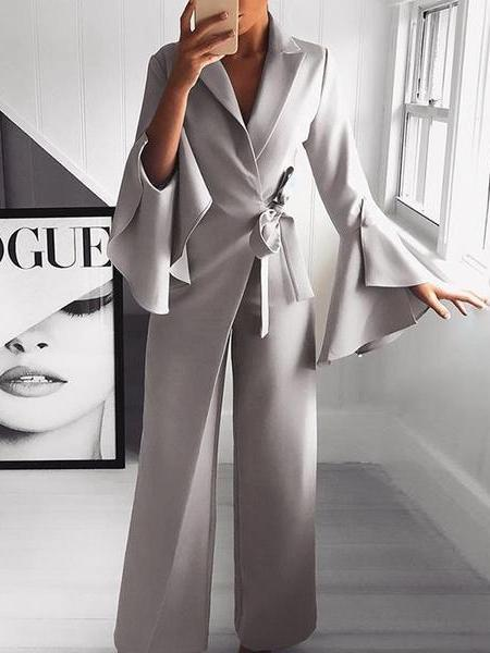 PMS Jumpsuits Gray / m Fashion Pure Colour Bell Sleeve Jumpsuits