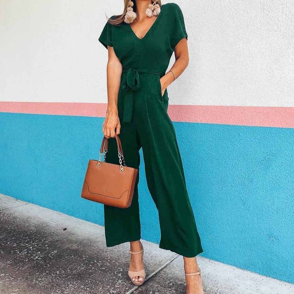 PMS Jumpsuits Green / s Leisure Pure Color Short-Sleeved V-Collar Jumpsuits
