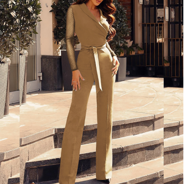 PMS Jumpsuits Khaki / s Fashion Turndown Collar Long Sleeve Jumpsuits
