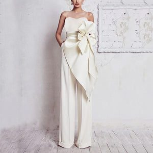 PMS Jumpsuits White / s Elegant Round Neck Belted Pure Colour Sleeveless Jumpsuit