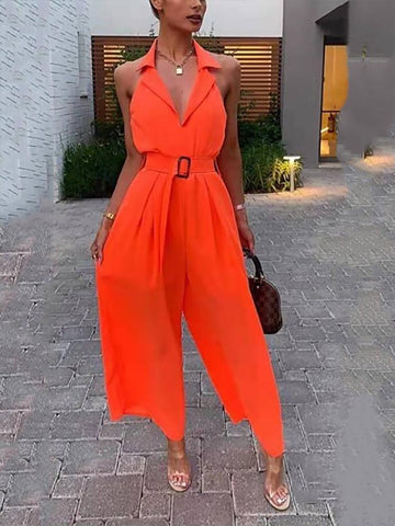 PMS Jumpsuits Women's Commuting V Neck Pure Color Turndown Collar Jumpsuit