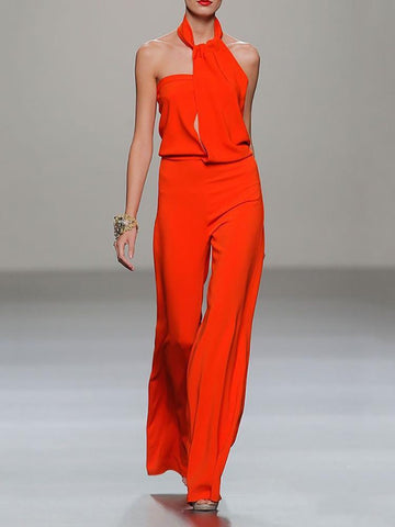 PMS Jumpsuits Women's Elegant Sexy Solid Color Jumpsuit