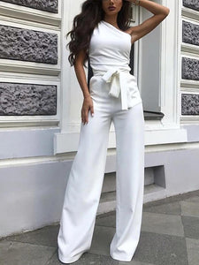 PMS Jumpsuits Women's Elegant Solid Color One-Shoulder Jumpsuit