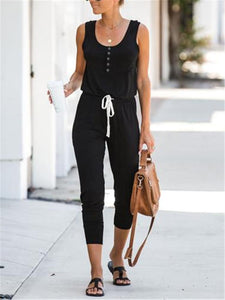 PMS Jumpsuits Women's Scoop Neck Button Belt Jumpsuit
