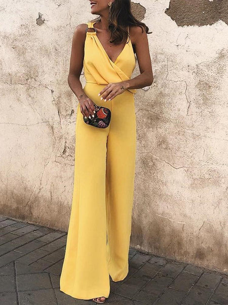 PMS Jumpsuits Yellow / s Sexy Fashion Yellow Sleeveless Jumpsuit