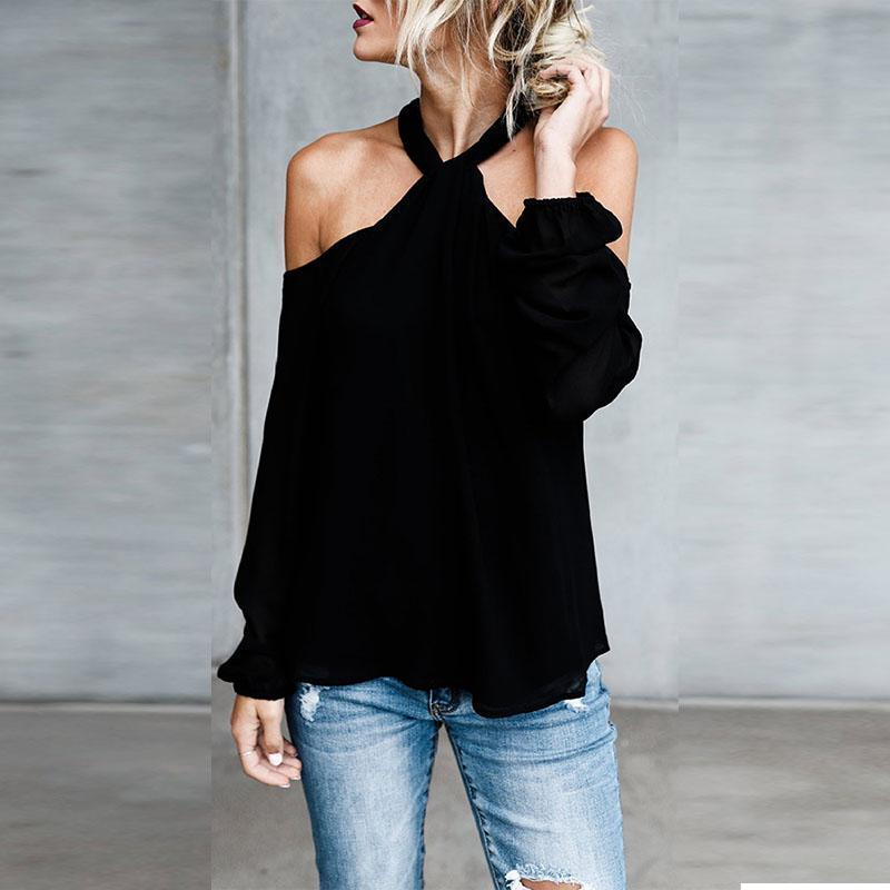 PMS Long Sleeve Blouses Black / xl Open Shoulder  Cutout  Plain Blouses