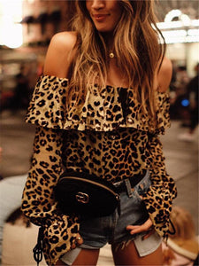 PMS Long Sleeve Blouses Sexy Word Collar Leopard Printed Long Sleeve Shirts