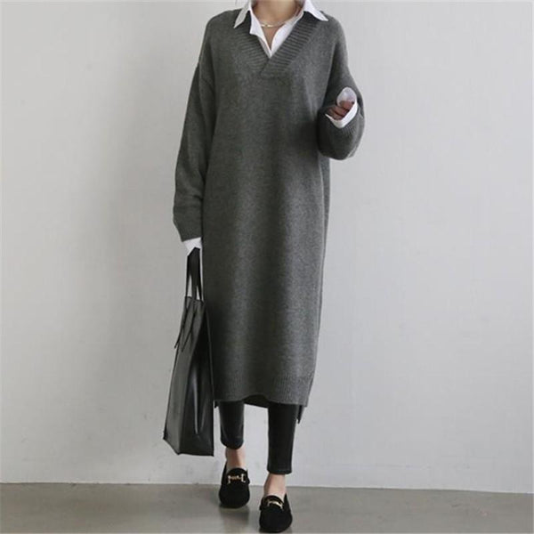PMS Maxi Dresses Gray / s Fashion Simple Loose Long Sleeves Knitted Sweater Shown Thin Maxi Dress
