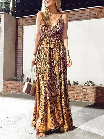 PMS Maxi Dresses Sexy V-Neck Open Back Split Leopard Dress
