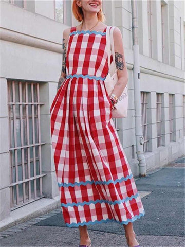 PMS Maxi Dresses Sweet Contrast Color Plaid Square Collar Dresses