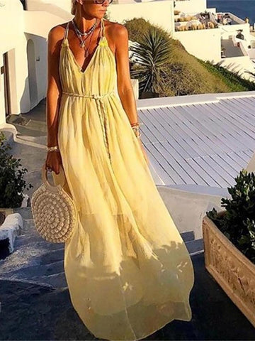 PMS Maxi Dresses Women's V-Neck Sleeveless Chiffon Yellow Dress