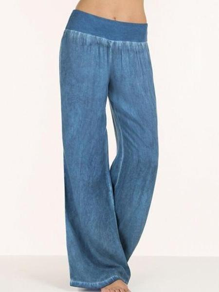 PMS Pants Blue / s Elastic Waist  Patchwork Pants