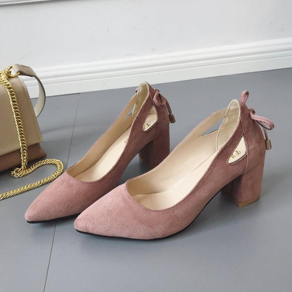 PMS Pumps apricot / us5 Plain  Chunky  High Heeled  Velvet  Point Toe  Date Pumps
