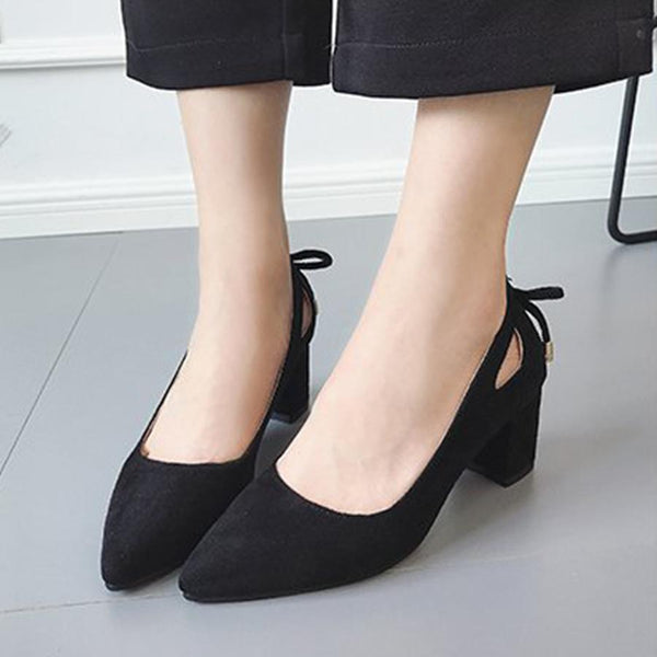 PMS Pumps black / us5 Plain  Chunky  High Heeled  Velvet  Point Toe  Date Pumps