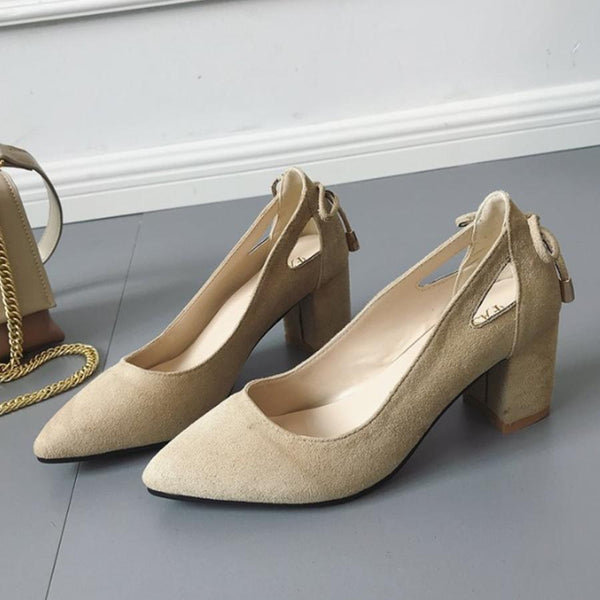 PMS Pumps khaki / us5 Plain  Chunky  High Heeled  Velvet  Point Toe  Date Pumps