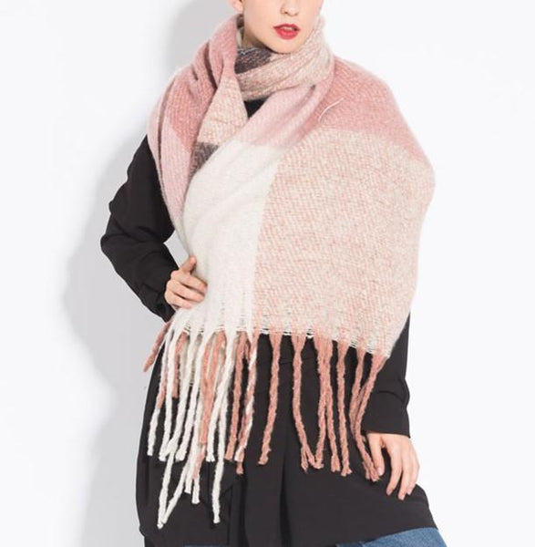 PMS Scarfs Pink / one size Fashion casual   Imitation cashmere Plaid  scarf  Tassels Knitted scarf