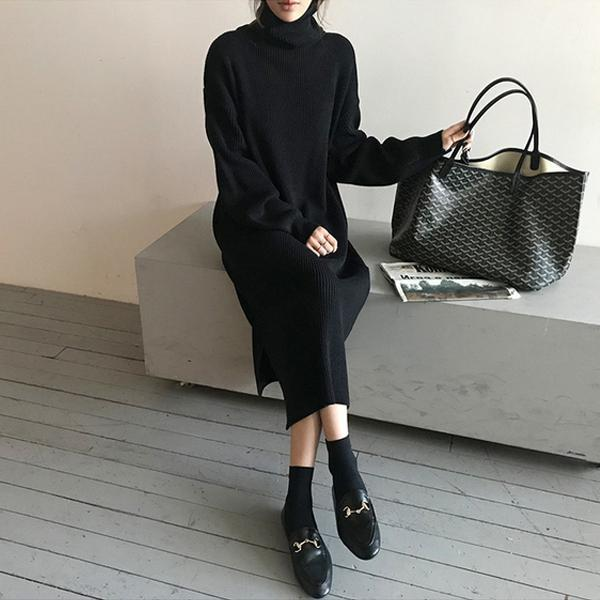 PMS Sweater Dresses Black / one size Fashion Simple Loose High Collar Knitted Maxi Dress