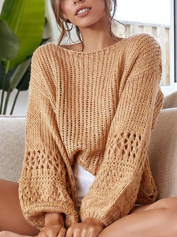 PMS Sweaters Casual Long Sleeve Hollow Out Plain Knitwear