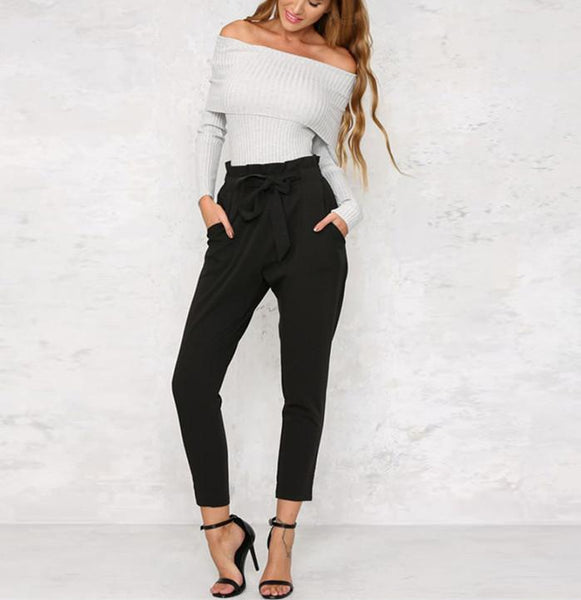 PMS Trousers black / s Strap Casual Trousers Of Pure Color