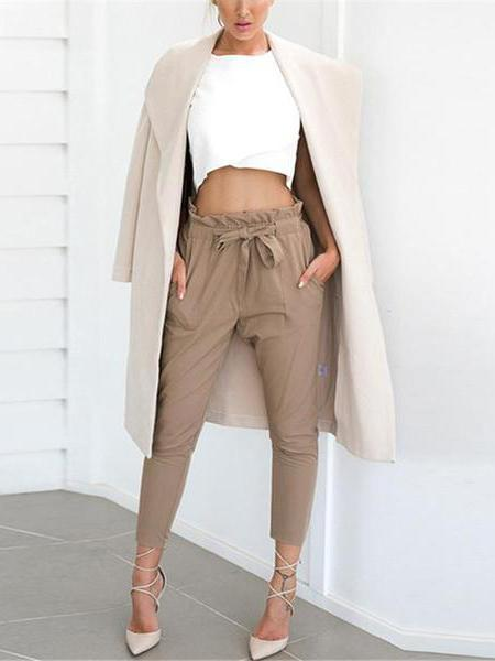 PMS Trousers camel / s Strap Casual Trousers Of Pure Color