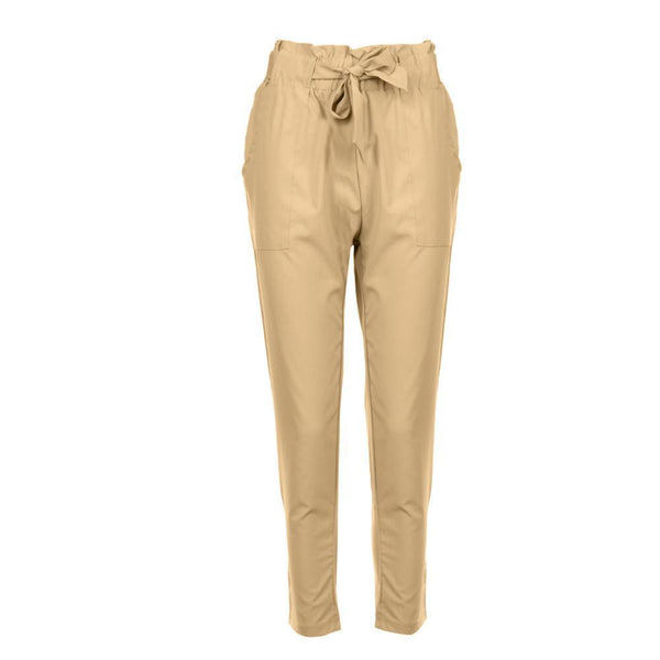 PMS Trousers khaki / s Strap Casual Trousers Of Pure Color