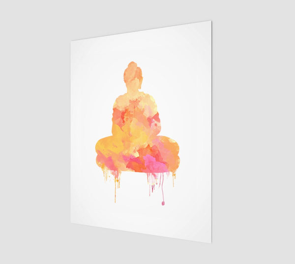 Sacred Buddha Print | Watercolor Meditating Buddha Wall Art | Yellow And Pink Zen Home Decor | Yoga or Meditation Room Decor - Brandless Artist