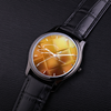 Emcee Fashion 30 Meters Waterproof Quartz Fashion Watch With Black Genuine Leather Band