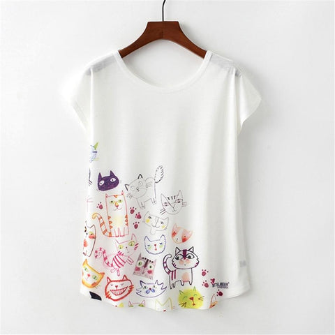 Cartoon Cat T-shirt 2018 - GirlsThingShop