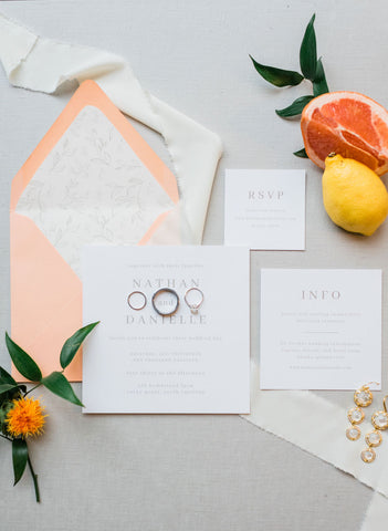 Square wedding invitation, citrus inspired wedding, peach envelope, wax seals, floral envelope liner, wedding invitation suite