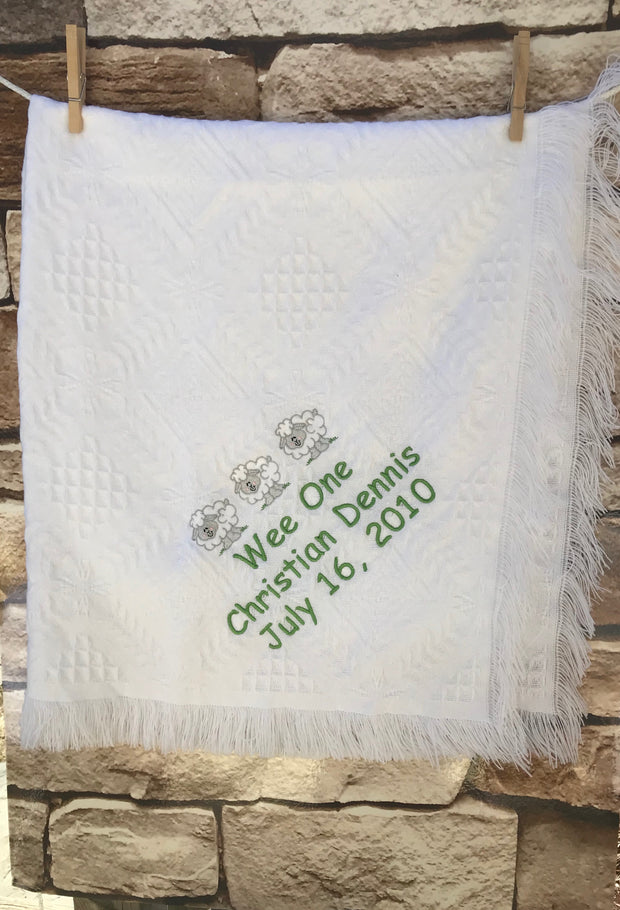 Personalized Embroidered Baptismal/Birth Blanket Big Sheep