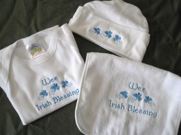Blue Irish Blessing Set Wee Irish baby