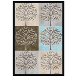 6 Tree Panel Muted Brown With Blue By Amrita Sen