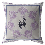 Horses Butterflies People Dark Purple on White Decorative Pillow
