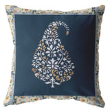 Wildflower White and Orange on Navy Decorative Pillow