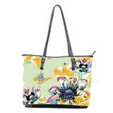Honey Dew Floral Yellow on Green Leather Tote