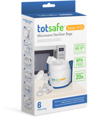 Totsafe Steam N Go Reusable Microwave Sterilizer Bags (Box of 6)