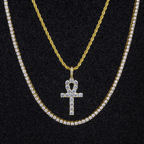 4mm 14K Gold Single Row Iced Out Tennis Chain and Bracelet Set-krkcom