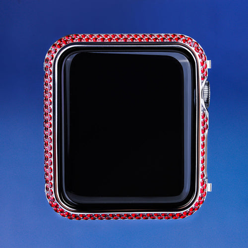 Red Iced Out Apple Watch Cover for Apple Watch for Series 3/2/1-krkcom