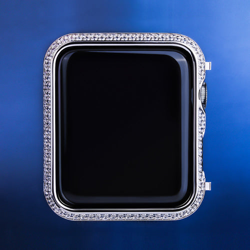 White Gold Iced Out Apple Watch Cover for Apple Watch Series 3/2/1-krkcom