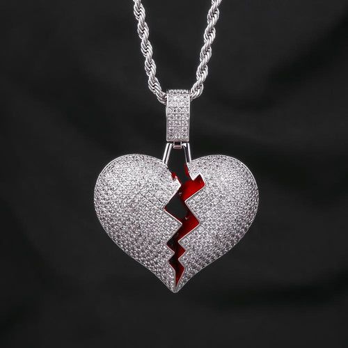 White Gold Iced Out Single Broken Heart Pendant Necklace-krkcom